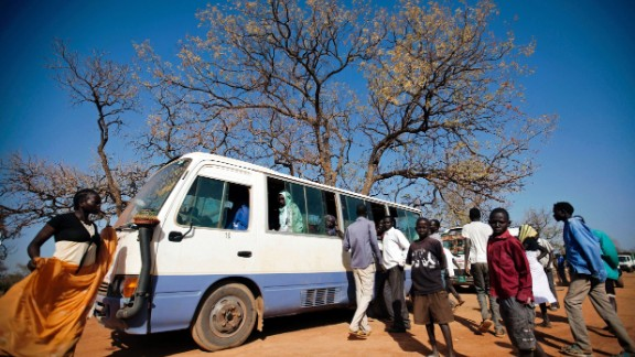 A bus prepares to leave a South Sudanese refugee camp to cross the border with Sudan Wednesday.