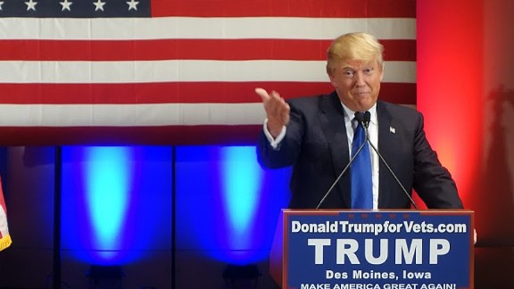 Donald Trump speaks during a campaign rally raising funds for US military veterans at Drake University in Des Moines, Iowa on January 28, 2016.  US Republicans scrambling to win the first contest in the presidential nomination race were gearing for battle at high-profile debate in Iowa, but frontrunner Donald Trump is upending the campaign by defiantly refusing to attend. Trump