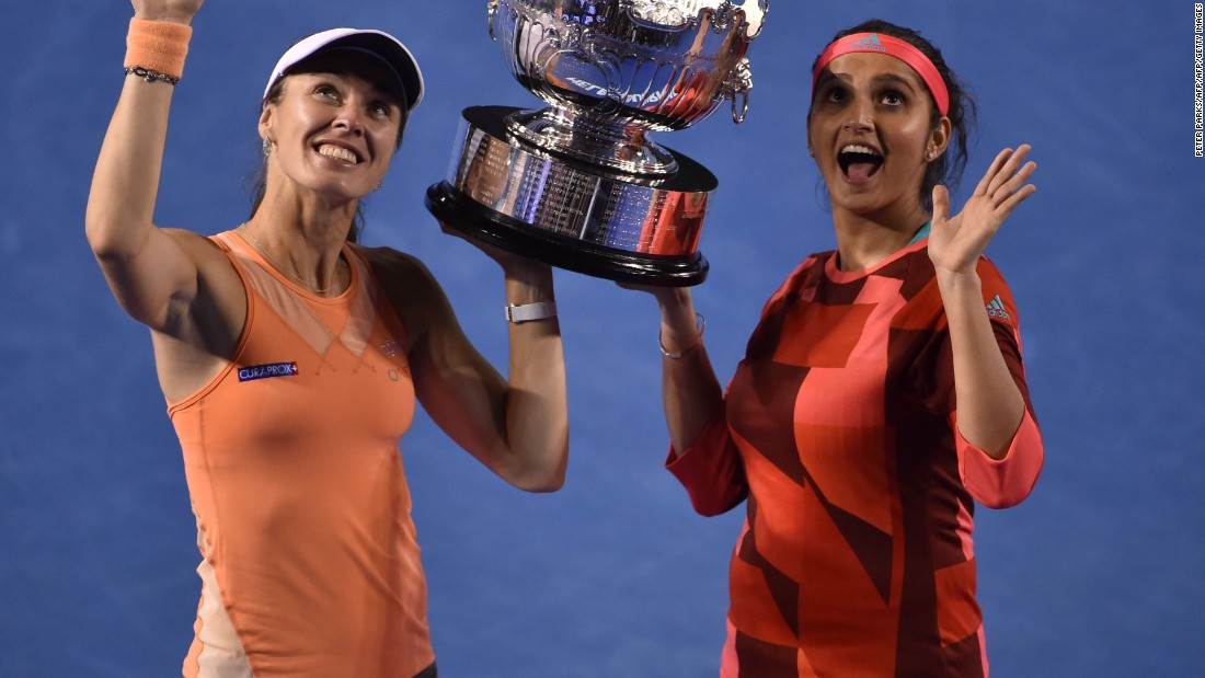 Sania Mirza and Martina Hingis claim the Australian Open title, beating Czech pair Andrea Hlavackova and Lucie Hradecka 7-6 (7-1) 6-3 in the final.