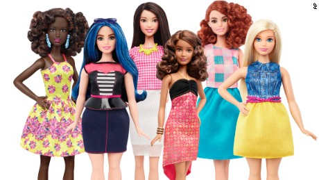 This photo provided by Mattel shows a group of new Barbie dolls introduced in January 2016. Mattel, the maker of the famous plastic doll, said it will start selling Barbies in three new body types: tall, curvy and petite. Shell also come in seven skin tones, 22 eye colors and 24 hairstyles. (Mattel via AP)