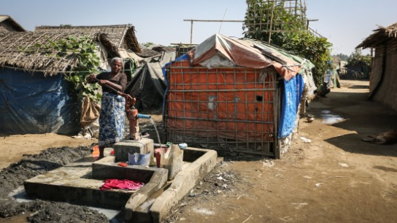 Thousands of Muslim Rohingya have been forced to live in extremely basic conditions in displacement camps.