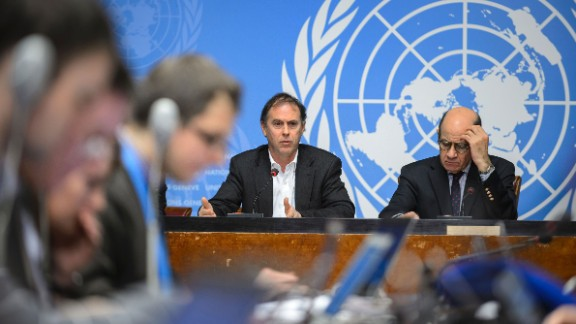 Rupert Colville (left), the spokesperson for the UN High Commissioner for Human Rights, and U.N. spokesperson Ahmad Fawzi brief reporters Friday on the allegations.