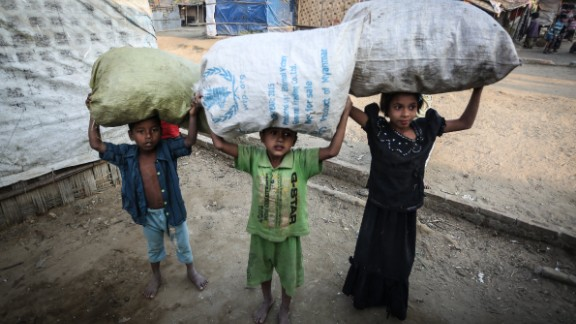 Thousands of Rohingya -- including many children -- rely on humanitarian aid from abroad.