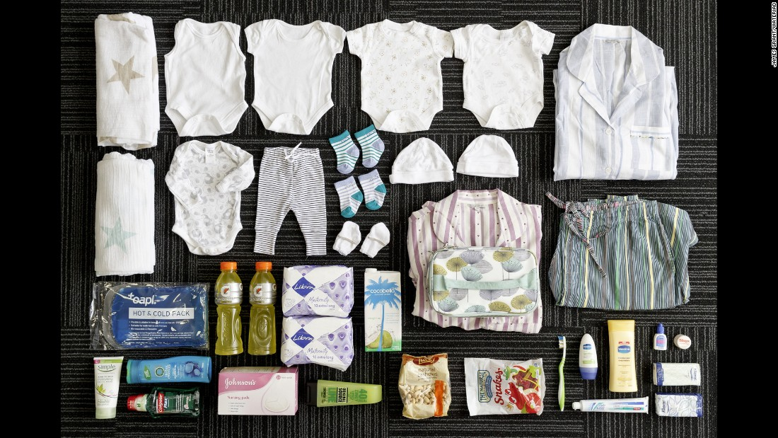 Katy Shaw's bag includes: toiletries, snacks, diapers, hat, socks, mittens, clothes and swaddles for the baby, clothes for the mom, nightgowns, maternity underwear, maternity pads, nursing pads and massage oils.