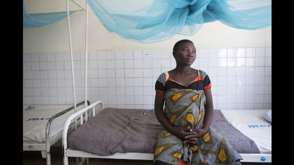 Agnes Noti, 22, of Tanzania, was photographed at the Kiomboi District Hospital as she was prepared to give birth to her third child. There was no source of water in the rooms where mothers deliver babies or care for newborns. There was one toilet and women had access to a sink that's also used to wash medical equipment. The water they drink is purchased from a shop, she said.