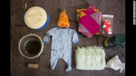 The hospital bag of Agnes Noti, 22. Kiomboi District Hospital, in Kiomboi, Tanzania.What's in the bag?