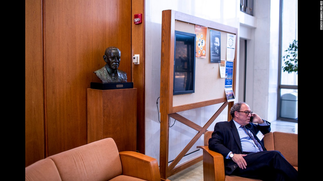 A bust of Wilson inside the building that houses Princeton's Woodrow Wilson School of Public and International Affairs.