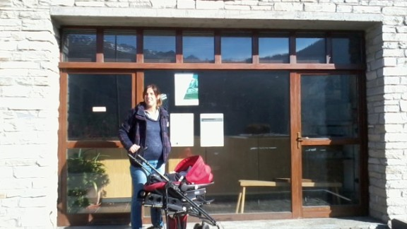 Silvia Rovere about to register her son Pablo at local registry office