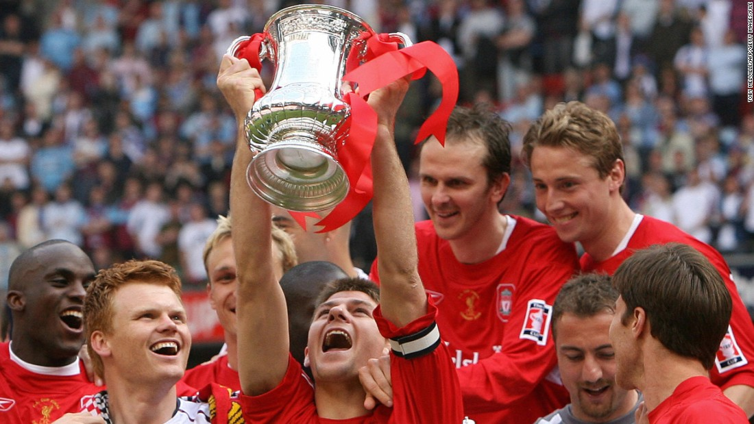 Gerrard won the FA Cup twice with Liverpool, and the League Cup three times. He was made captain in 2003.