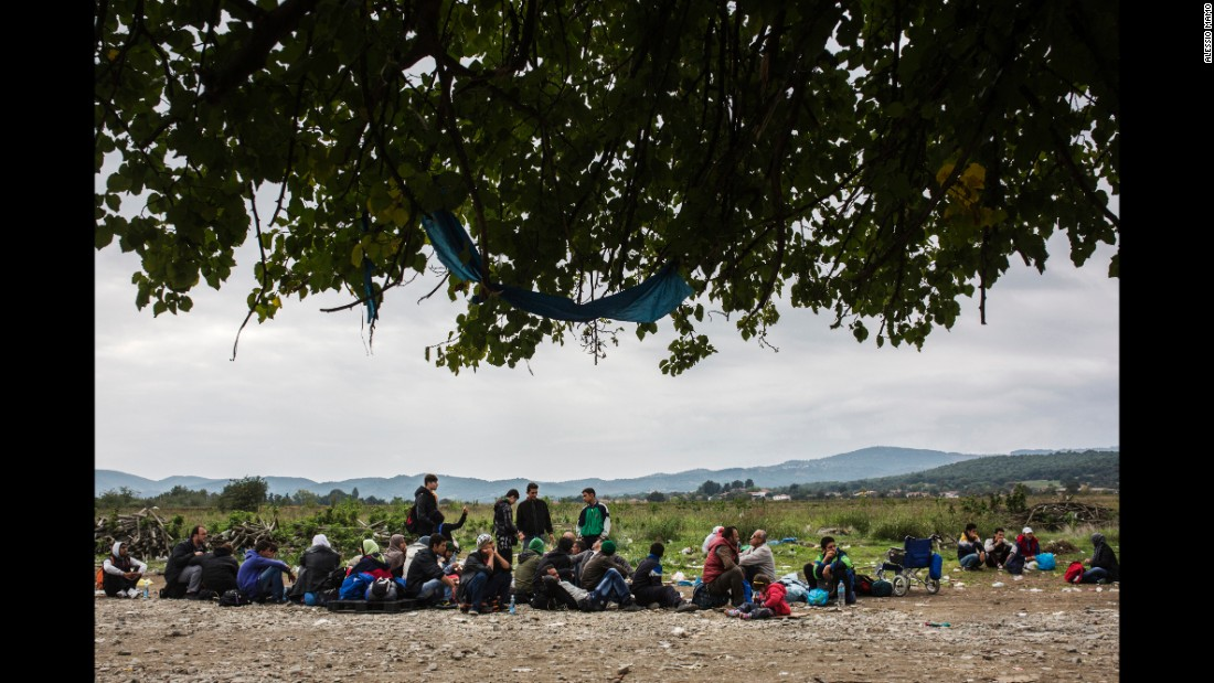 Refugees wait to enter a U.N. camp in Macedonia.