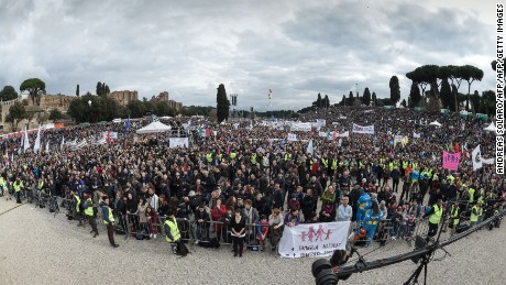 Thousands of demonstrators take part in the Family Day rally at the Circo Massimo in central Rome, on January 30, 2016. The Family day was organised to protest against a bill to recognize civil unions, including same-sex ones currently under examination at the Italian Parliament.   / AFP / ANDREAS SOLARO        (Photo credit should read ANDREAS SOLARO/AFP/Getty Images)