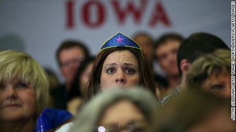 "CEDAR RAPIDS, IA - JANUARY 30:  Supporters look on as democratic presidential candidate former Secretary of State Hillary Clinton speaks during a ""get out to caucus"" event at Washington High School on January 30, 2016 in Cedar Rapids, Iowa.  With two days to go before the Iowa caucuses, Hillary Clinton is campaigning throughout Iowa.  (Photo by Justin Sullivan/Getty Images)"