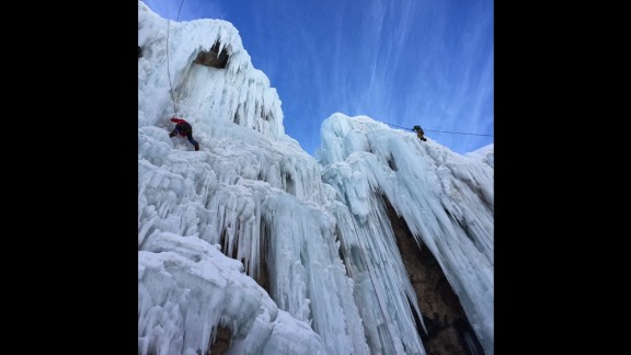 IRAN: Students from the Meygoon Ice-Climbing School use ice axes to climb a frozen waterfall. Photo by CNN's Fred Pleitgen @fpleitgencnn.