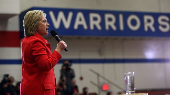 "Democratic presidential candidate former Secretary of State Hillary Clinton speaks during a ""get out to caucus"" event at Washington High School on January 30, 2016 in Cedar Rapids, Iowa."