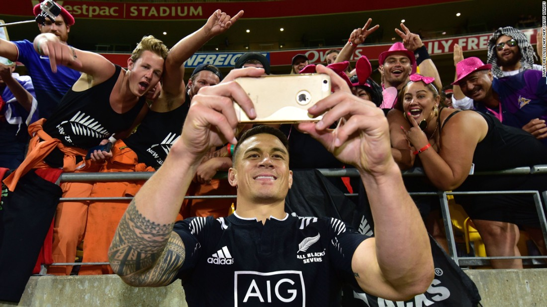 Sonny Bill Williams takes a selfie with fans during the cup final against South Africa at the Wellington Sevens.
