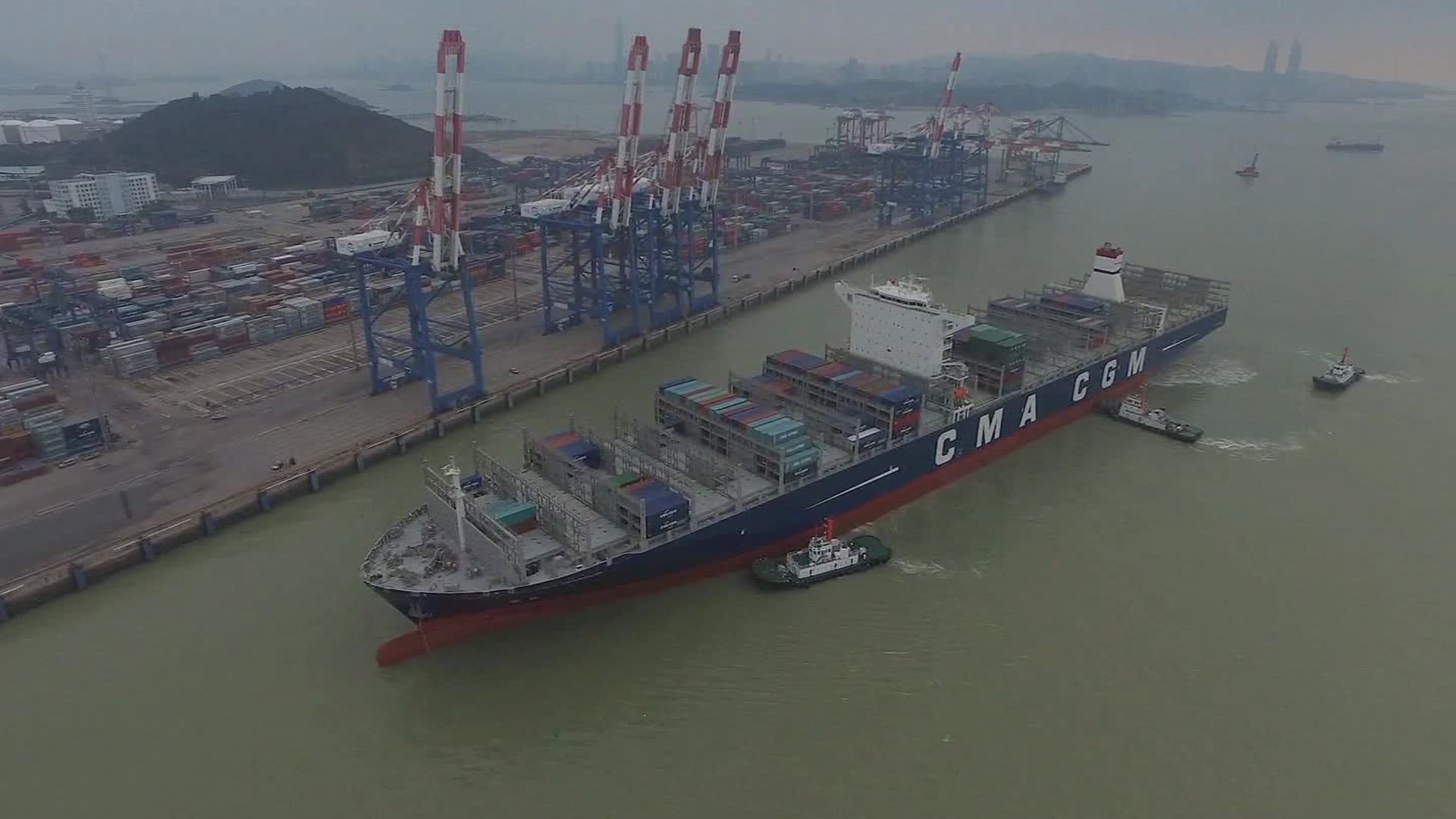 Largest container ship to dock in U S  sets sail
