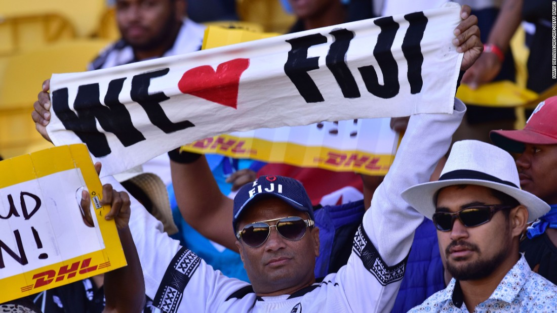 Fiji, beaten in the cup semifinal by South Africa, was cheered on by passionate fans. The Pacific Island team is second in the overall standings.