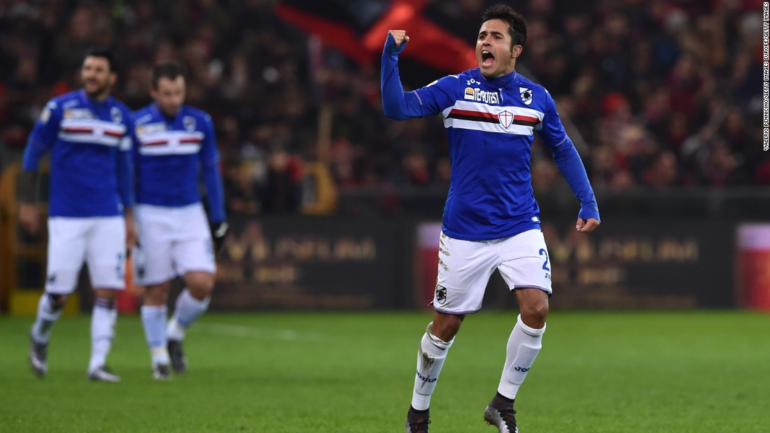 The Brazil-born Italy international striker has scored 12 Serie A goals this season; only Napoli's Gonzalo Higuain has more. The 29-year-old's loan deal came with a fee of $2 million.