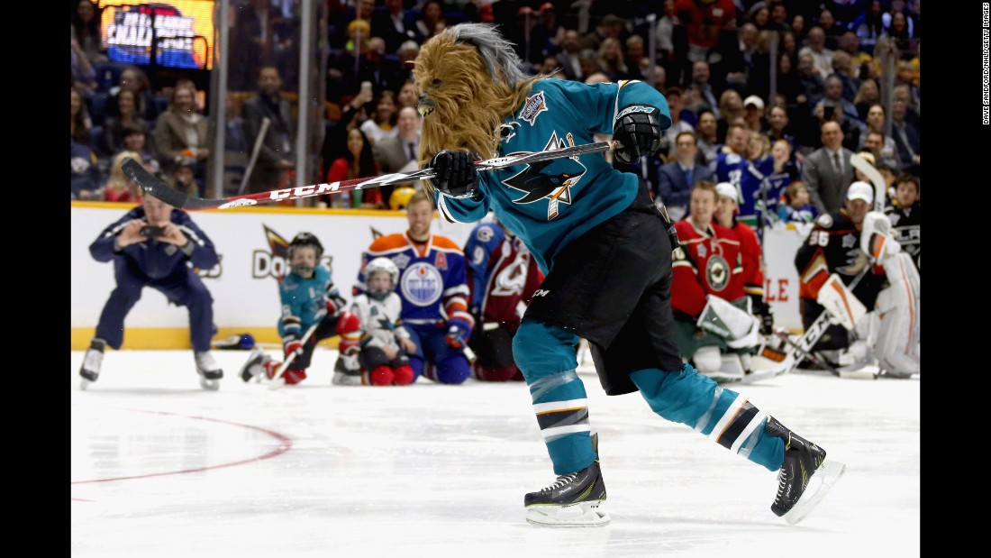"San Jose's Brent Burns wears a Chewbacca mask during the NHL All-Star Skills Competition on Saturday, January 30. Burns is already known for having some of the best <a href=""https://www.instagram.com/p/_-LTy5gvSJ/"" target=""_blank"">facial hair</a> in hockey."