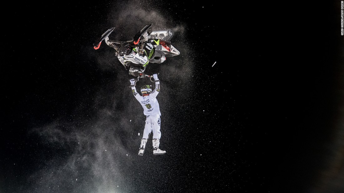 Heath Frisby performs a trick on his snowmobile during the Winter X Games on Friday, January 29. He won silver in the freestyle event, which took place in Aspen, Colorado.