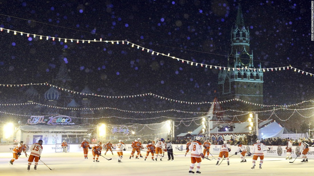 People play hockey in Moscow's Red Square on Wednesday, January 27 -- 100 days before the city hosts the Ice Hockey World Championship.