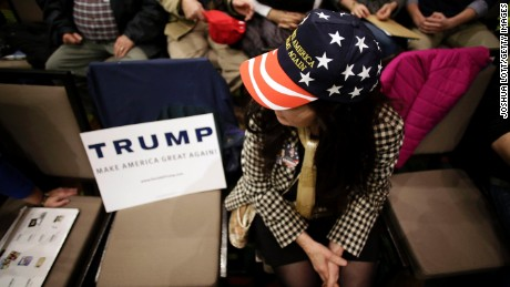 A woman attends a campaign event for Republican presidential candidate Donald Trump at the U.S. Cellular Convention Center February 1, 2016 in Cedar Rapids, Iowa.