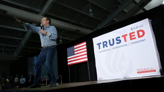 Republican presidential candidate Sen. Ted Cruz speaks to Iowa voters at the Iowa State Fairgrounds January 31, 2016, in Des Moines, Iowa.