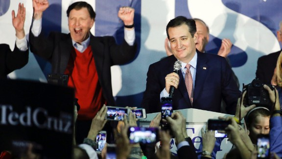 Republican presidential candidate, Sen. Ted Cruz, R-Texas, speaks during a caucus night rally, Monday, Feb. 1, 2016, in Des Moines, Iowa. Cruz sealed a victory in the Republican Iowa caucuses, winning on the strength of his relentless campaigning and support from his party's diehard conservatives.(AP Photo/Chris Carlson)