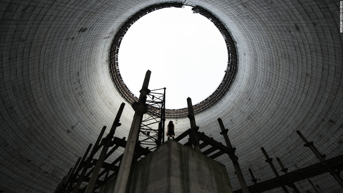"""""""This is inside the cooling tower of a nuclear power plant in Chernobyl that was never completed,"""" explained De Rueda. """"Cooling towers are impressive from the outside but even more so from the inside."""""""
