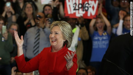 Democratic presidential candidate former Secretary of State Hillary Clinton greets supporters during her caucus night event in the Olmsted Center at Drake University on February 1, 2016 in Des Moines, Iowa.