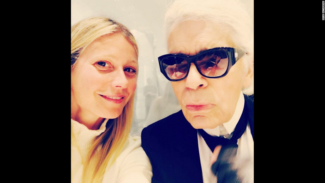 "Fashion designer Karl Lagerfeld appears in <a href=""https://www.instagram.com/p/BBCbTlICPf7/"" target=""_blank"">a selfie with actress Gwyneth Paltrow</a> on Wednesday, January 27."