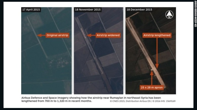 Satellite imagery obtained by IHS Jane's shows an airstrip in northeast Syria, which is reportedly being used by U.S. forces, has been expanded in recent months.
