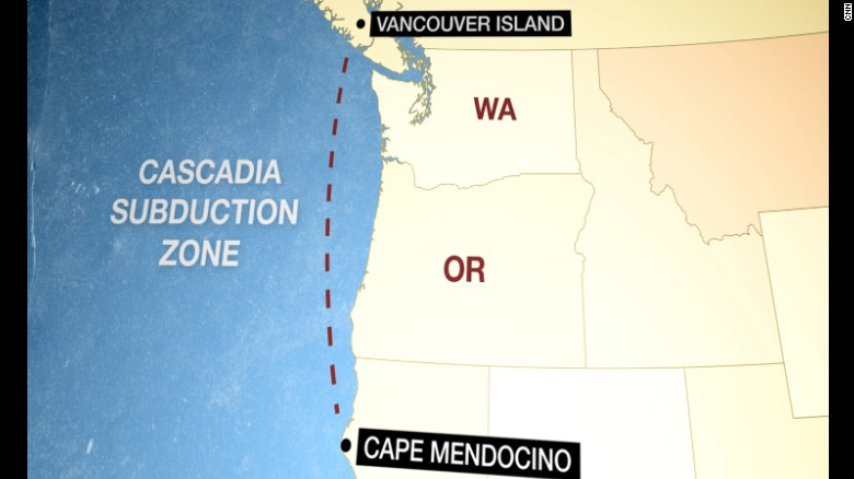the fault line called the cascadia subduction zone lies in coastal waters spanning 700 miles