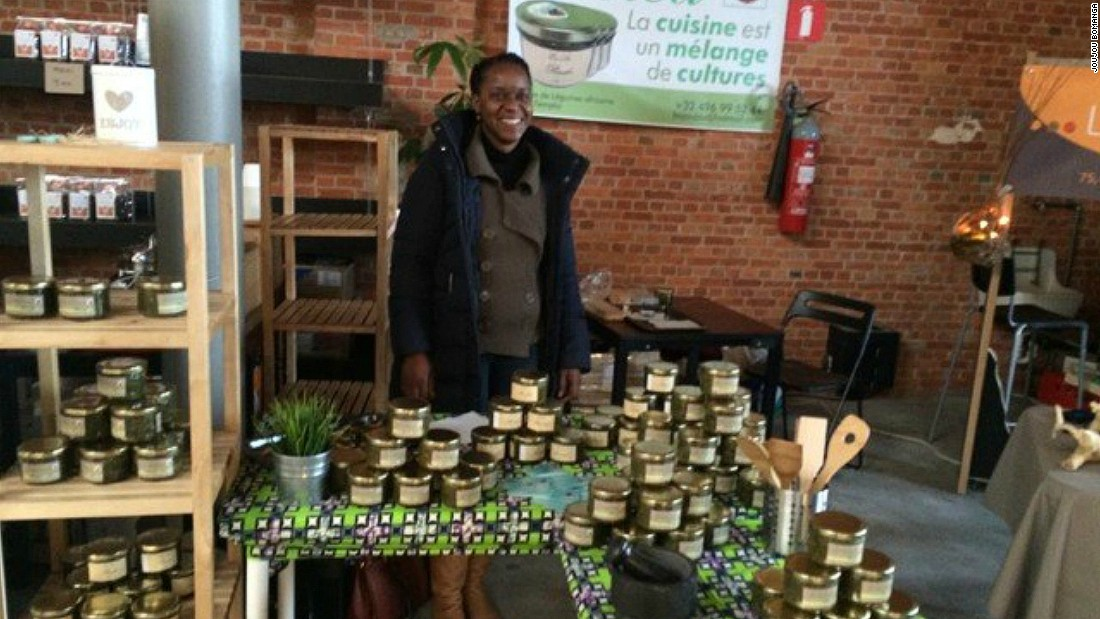 "Joujou Bomanga is a Congolese businesswoman living in Belgium. She developed Evelea Foods, with the aim of ""serving Africa in a jar""."