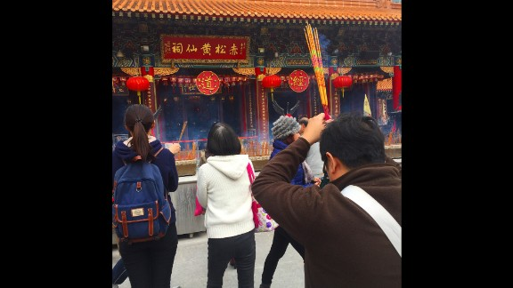"HONG KONG: ""Burning incense at Wong Tai Sin temple. People want good luck for the new year and this is where they come to get it."" - CNN's Brad Olson @cnnbrad, February 3."