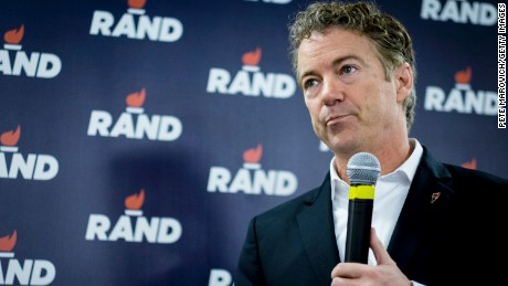 DES MOINES, IA - FEBRUARY 1:  Senator  Rand Paul (R-TX) speaks during a caucus day rally at his Des Moines headquarters on February 1, 2016 in Des Moines, Iowa. The Presidential hopeful was accompanied by his wife, Kelly, mother, Carol Wells and his father, former Congressman Ron Paul. Pauls were there to thank all the staff and volunteers for all their hard work in Iowa. (Photo by Pete Marovich/Getty Images)