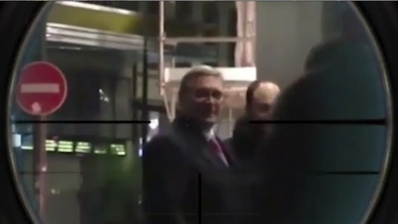 Vladimir Putin critic Mikhail Kasyanov is seen in a sniper's cross-hairs in a video posted on Chechen leader Ramzan Kadyrov's Instagram account.