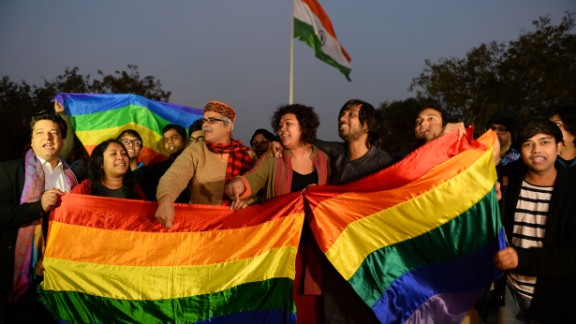 Indian gay-rights activists celebrate in 2016 after the country