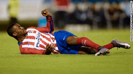 Atletico Madrid's Colombian forward Jackson Martinez lies on the ground during the Spanish Copa del Rey (King's Cup) football match Celta Vigo vs Club Atletico de Madrid at the Balaidos stadium in Vigo on January 20, 2016.  The match ended with a 0-0 draw. AFP PHOTO / MIGUEL RIOPA / AFP / MIGUEL RIOPA        (Photo credit should read MIGUEL RIOPA/AFP/Getty Images)