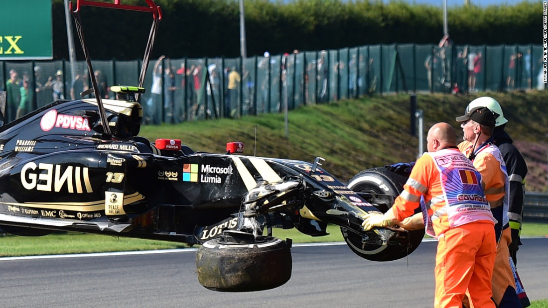 This was an all-too familiar sight for Lotus fans -- Pastor Maldonado's car being hoisted off the track after a practice crash in Belgium last year.  The Venezuelan driver failed to finish nine of 19 races in 2015.