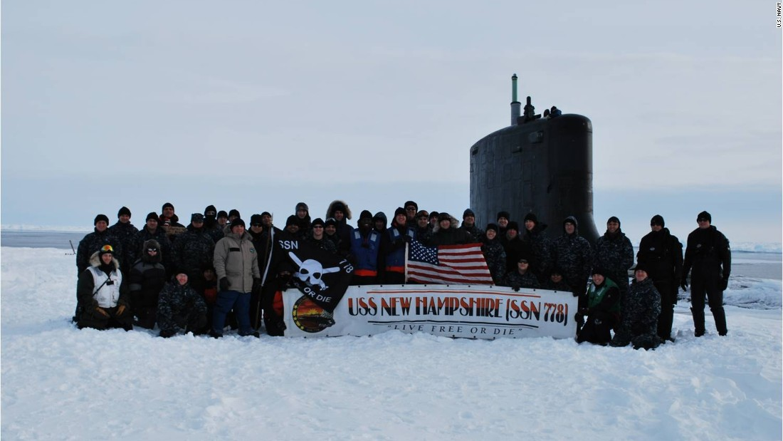 The USS New Hampshire and its crew during a 2011 exercise in the Arctic.