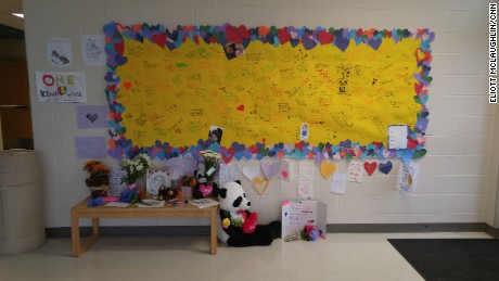 In the seventh-grade wing of Blacksburg Middle School, a memorial has been growing daily as students write remembrances and leave flowers, cards and stuffed animals in her honor.