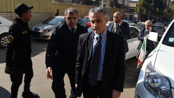 Italian ambassador to Egypt Maurizio Massari (3rd R)arrives on February 4, 2016 to a morgue where the body of Italian student Giulio Regeni was brought after it was found earlier on the outskirts of the Egyptian capital Cairo. The Italian student who mysteriously disappeared from central Cairo 10 days ago was found dead in a ditch outside the Egyptian capital, half-naked and with injuries on his body, officials said.  Giulio Regeni, 28, a Cambridge University PhD student, was researching on trade union movements in Egypt when he went missing on January 25 while on his way to meet a friend.   / AFP / MOHAMED EL-SHAHED        (Photo credit should read MOHAMED EL-SHAHED/AFP/Getty Images)