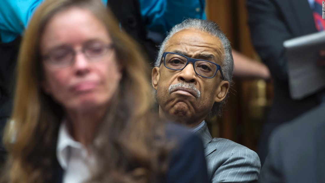 "The Rev. Al Sharpton listens to testimony Wednesday, February 3, during a House committee hearing on <a href=""http://www.cnn.com/2016/02/03/us/flint-michigan-water-crisis/index.html"" target=""_blank"">the water crisis in Flint, Michigan.</a> High levels of lead have plagued Flint's municipal water supply for more than a year, prompting extensive emergency measures to keep residents safe."