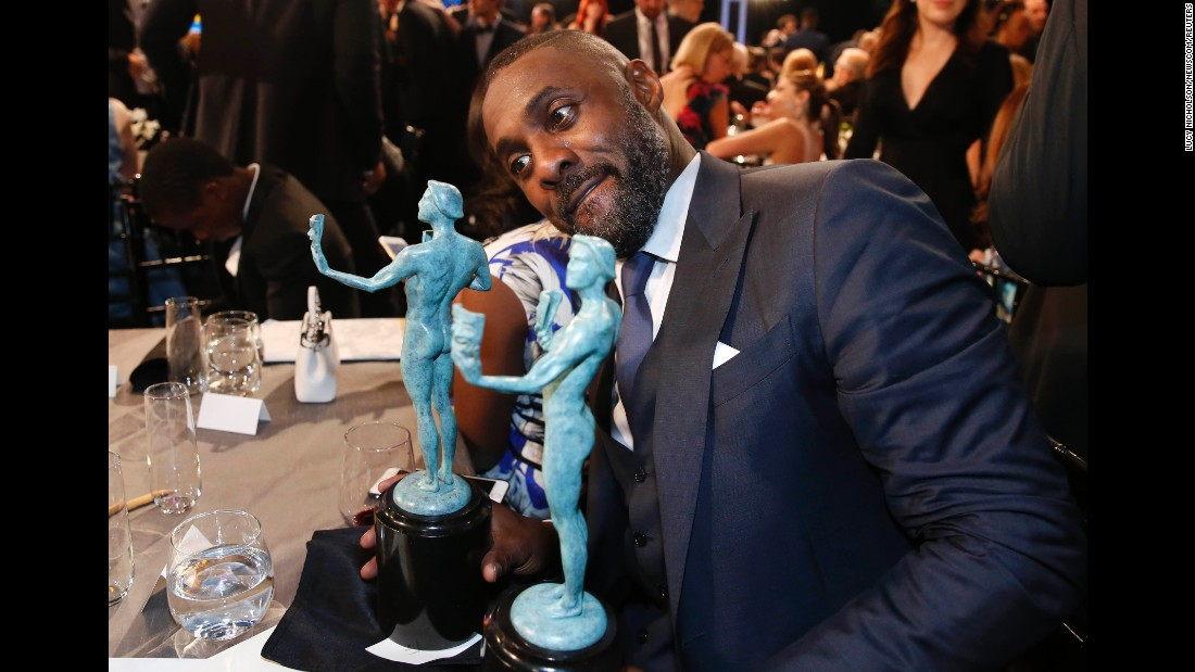 "Idris Elba sits with the two awards he received from the Screen Actors Guild on Saturday, January 30. Elba won for his roles in the film ""Beasts of No Nation"" and the television series ""Luther."" <a href=""http://www.cnn.com/2016/01/30/entertainment/gallery/sag-winners-2016/index.html"" target=""_blank"">See all of the SAG winners</a>"