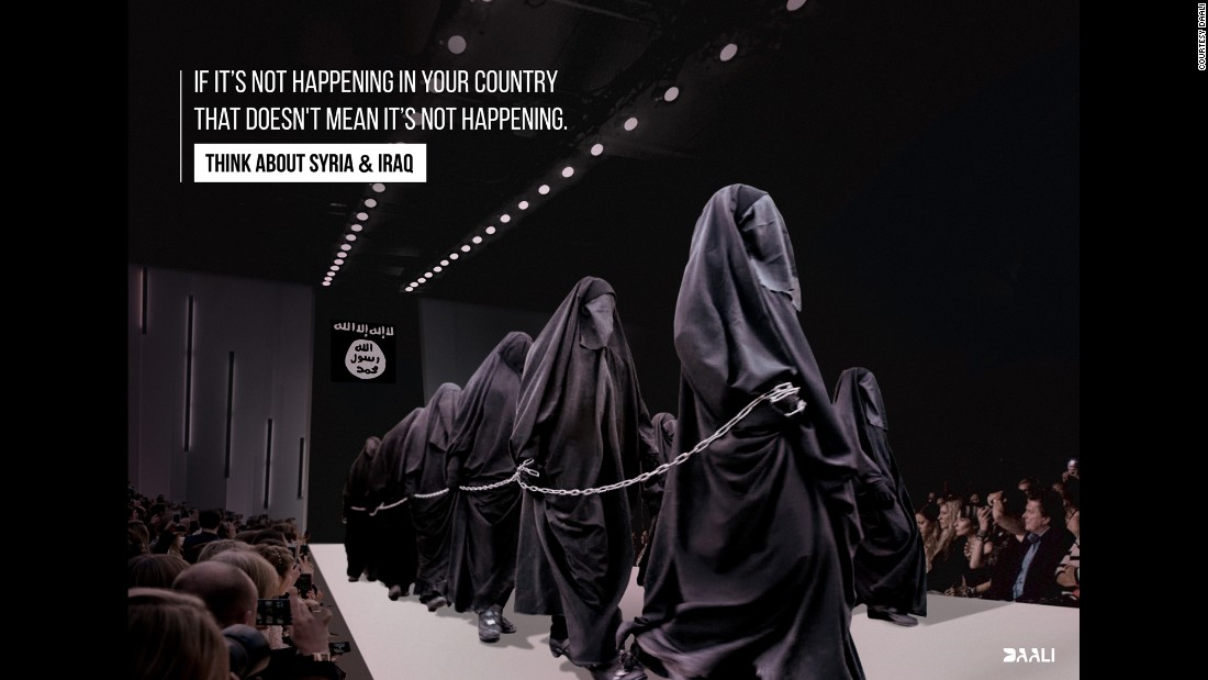 "An anonymous anti-war artist whose Facebook handle is DAALI has a series of works captioned, ""If it's not happening in your country that doesn't mean it's not happening."" Many of them reference scenes of oppression in from Syria transferred to a Western event or location. In this case, women wearing niqabs and gloves -- clothing forced onto them in ISIS-controlled areas -- march on a fashion runway. An ISIS flag hangs in the back. Since the emergence of the Islamic State in Iraq and Syria, reports of rape, slavery and extreme oppression have filtered out of the group's tightly controlled territory. ISIS also claims more than 100 female foreign recruits, the majority of them from Europe."