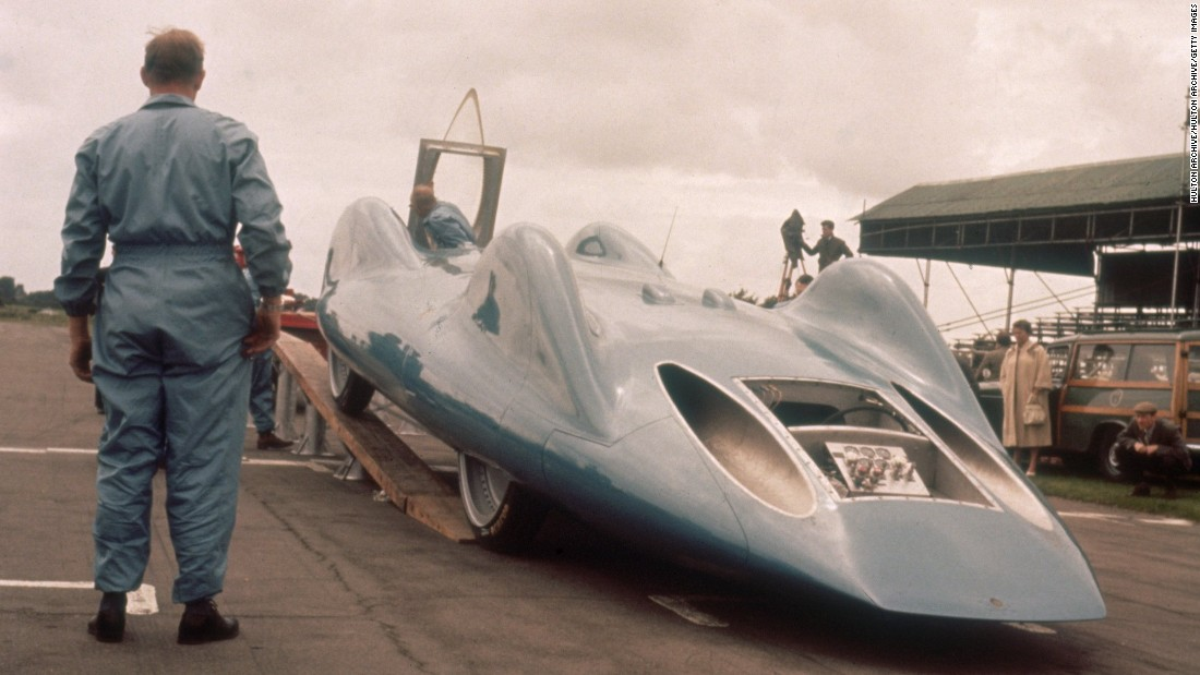 Speedy pursuits have always thrown up outlandishly-shaped vehicles. Donald Campbell's famed Bluebirds attempted to break the land speed record on several occasions. The Bluebird CN7 is shown here during testing at Goodwood Motor Circuit, on July 18 1960. Campbell is the only man to break land speed and water speed records in the same year.