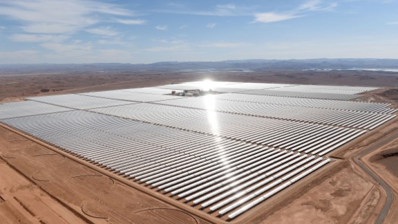 The world's largest concentrated solar power (CSP) plant, called the Noor Complex, is being built in the Moroccan desert. Noor 1, the first phase of three, is located near the town of Ouarzazate on the edge of the Sahara.  It was switched on in February, 2016, and provides 160 megawatts of the project's planned 580 megawatt capacity. It's set to be completed by the end of 2018. The project is expected to provide electricity for over 1 million people.