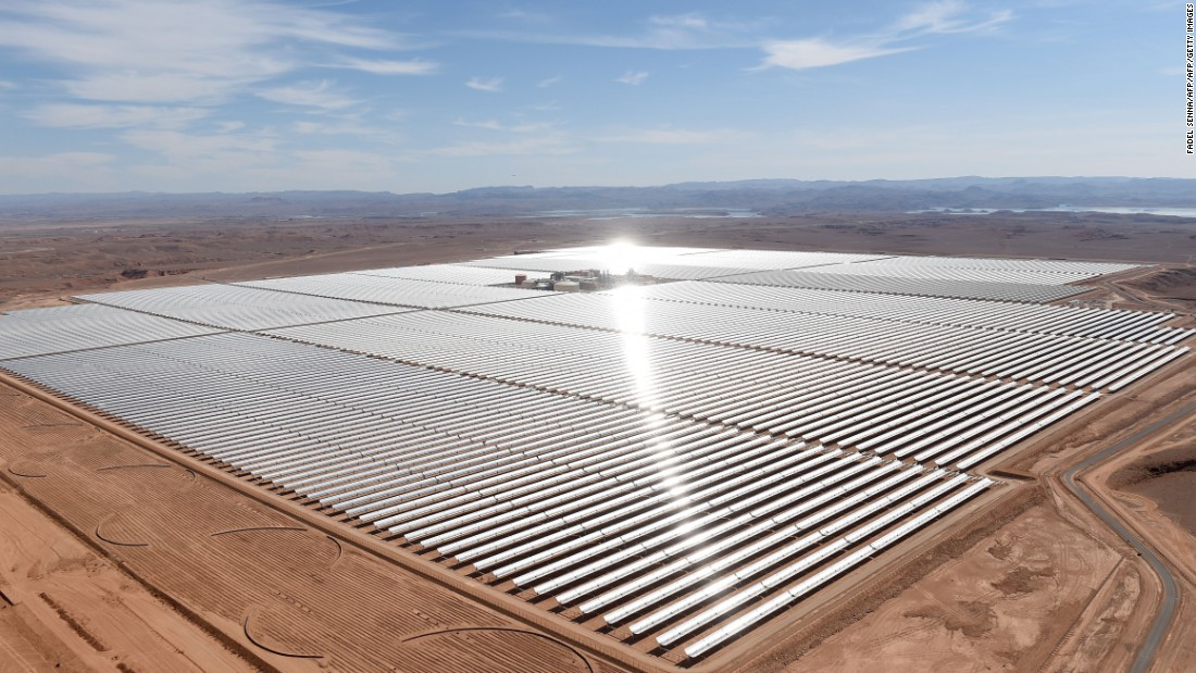 The world's largest concentrated solar power (CSP) plant, called the Noor Complex, is being built in the Moroccan desert. Noor 1, the first phase of three, is located near the town of Ouarzazate on the edge of the Sahara.<br /><br />It was switched on in February, 2016, and provides 160 megawatts of the project's planned 580 megawatt capacity. It's set to be completed by the end of 2018. The project is expected to provide electricity for over 1 million people.