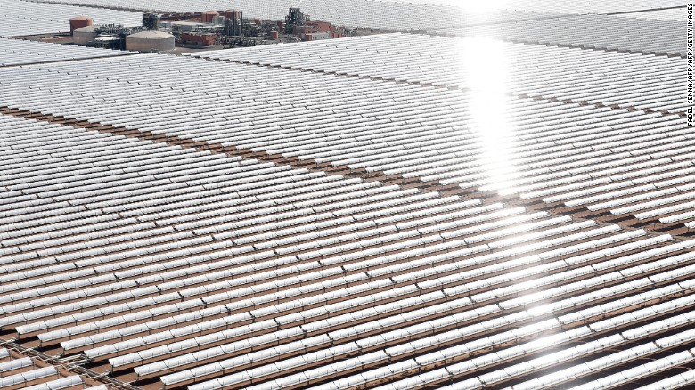 An aerial view of the solar mirrors at the Noor 1 Concentrated Solar Power (CSP) plant, some 20km (12.5 miles) outside the central Moroccan town of Ouarzazate.